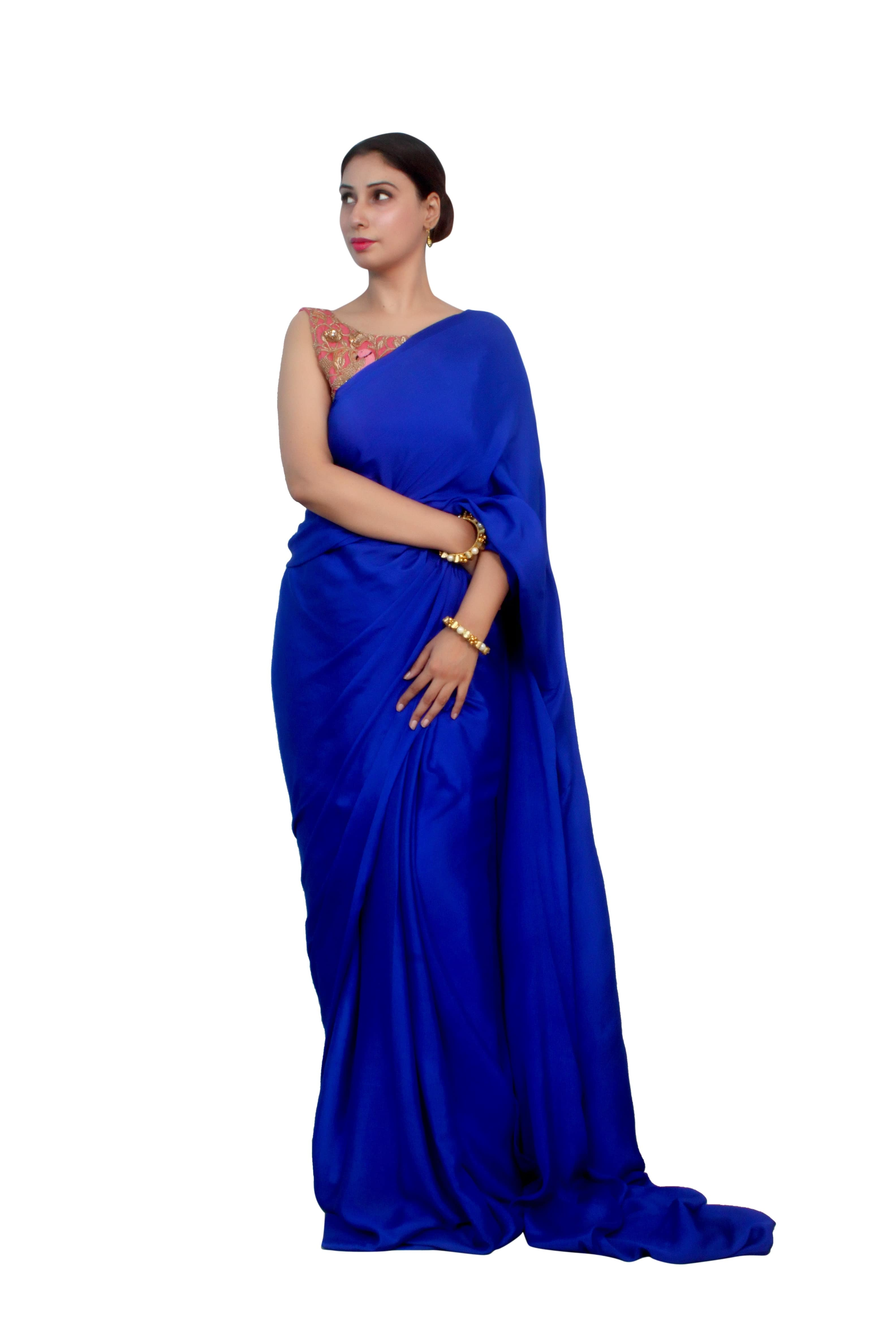 e9c7dea35c833 designer sarees blouses online shop of chinon chiffon royal blue saree